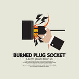 Burned Plug Socket In Hand. Vector Illustration Stock Image
