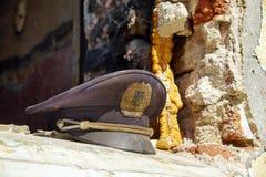 Burned polic hat Stock Photo