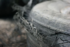 Burned racing tire. Drift racing stripe on asphalt Royalty Free Stock Photography