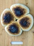 Burned roll bread Royalty Free Stock Photo