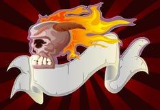Burned skull with grunge ribbon. Illustration of burned skull with grunge ribbon Royalty Free Stock Images
