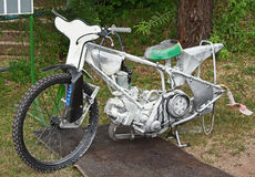 Burned speedway motorcycle after inoculation Royalty Free Stock Images