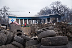 Burned stadium near barricades on Euromaidan, Kiev, Ukraine Royalty Free Stock Photos