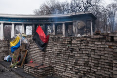 Burned stadium near barricades on Euromaidan, Kiev, Ukraine Royalty Free Stock Photography