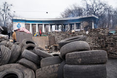 Burned stadium near barricades on Euromaidan, Kiev, Ukraine Stock Photos