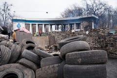 Burned stadium near barricades on Euromaidan, Kiev, Ukraine Stock Photos