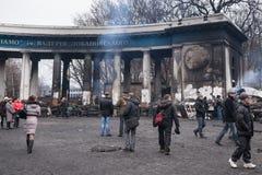 Burned stadium near barricades on Euromaidan, Kiev, Ukraine Royalty Free Stock Photos