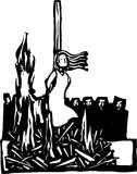 Burned at the Stake. Expressionist woodcut style Woman,Saint or Witch being burned at the stake being watched by a crowd Royalty Free Stock Image