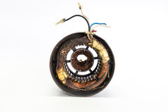 Burned stator in electric motor. On the white background stock photography