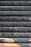 Burned timber wall Royalty Free Stock Photos