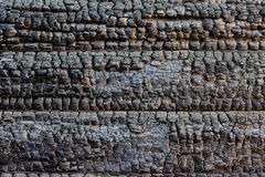 Burned timber wall Stock Image