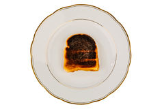 Burned toast bread slices Stock Photos