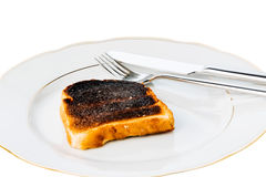 Burned toast bread slices Royalty Free Stock Image