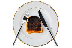 Burned toast bread slices Royalty Free Stock Images