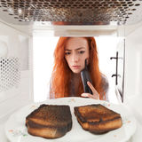 Burned toasts Stock Image