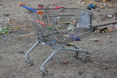 Burned Trolley from the supermarket Royalty Free Stock Images