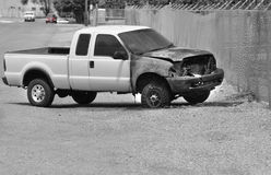 Burned Truck Wreck on Roadside Stock Photo