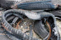 Burned tyres Stock Photos