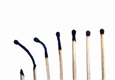 Burned and  unburned matches Stock Images