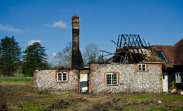 Burned village house. In sunny day royalty free stock photos