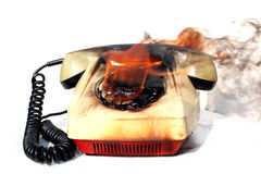 Burned vintage phone Stock Photos