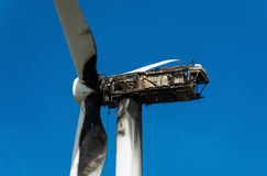 Burned wind turbine. Stock Images