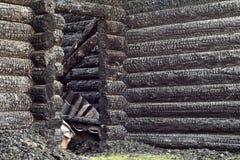 Burned wooden house Stock Image
