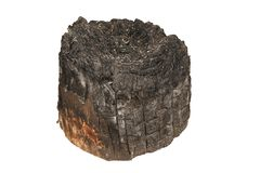 Burned wooden stump Stock Images