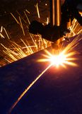Burner. Cutting of steel by gas-stove burner stock photos