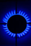 Burner. Flame gas stove in the dark stock photos