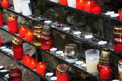 Burners and candles in Marianka - pilgrimage site in Slovakia Stock Photo