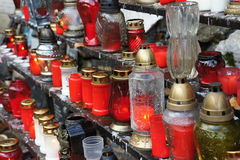 Burners and candles in Marianka - pilgrimage site in Slovakia Royalty Free Stock Image