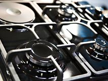 Burners gas cookers. Black white Stock Photography
