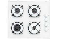 Burners on a white glass gas cooker in the kitchen. View from above. Isolated on white background.  stock photos