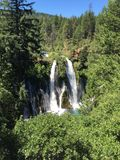 Burney Falls. Water cascading over Burney Falls at McArthur-Burney Falls State Park Royalty Free Stock Photo