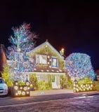 Burnham op overzees, Somerset 11 Dec 2017 De Lichten van Kerstmis Royalty-vrije Stock Foto