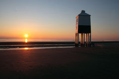 Burnham-on-Sea Lighthouse. The lighthouse on the beach at Burnham-on-Sea in Somerset at sunset. England royalty free stock images
