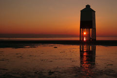 Burnham-on-Sea Lighthouse. The lighthouse on the beach at Burnham-on-Sea in Somerset at sunset. England stock photography