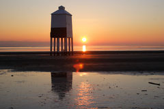 Burnham-on-Sea Lighthouse. The lighthouse on the beach at Burnham-on-Sea in Somerset at sunset. England stock photo