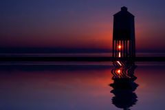 Burnham-on-Sea Lighthouse. The lighthouse on the beach at Burnham-on-Sea in Somerset at sunset. England stock photos
