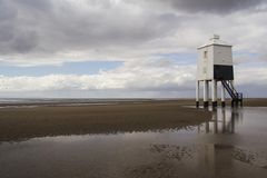 Burnham-on-sea lighthouse from the sea Royalty Free Stock Photo