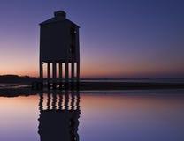 Burnham-on-sea nine leg low lighthouse. At dawn Stock Photography