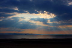 Burnham on sea, somerset, England, UK. Sunset at Burnham on sea, somerset, england uk stock photo