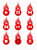 Burnig player buttons (red). Blue buttons for the media player with the fire Royalty Free Stock Photo