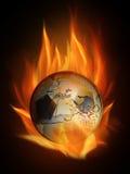 Burning. The hot burning world euro ball with many flames Stock Image