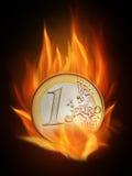 Burning. The hot burning euro with many flames Stock Images