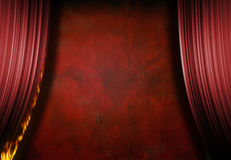 Burning. Red stage with burning curtain royalty free stock images