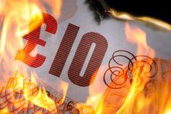 burning £10 Fotografia de Stock
