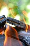 Burning. Close up of burning woods stock images
