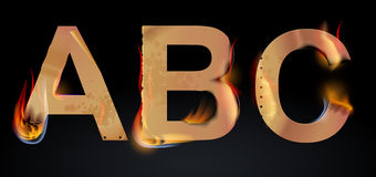 Burning ABC letters. Over dark, illustration Stock Photography